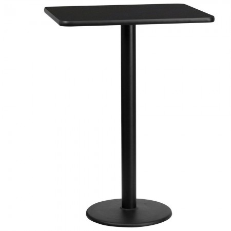 "Flash Furniture XU-BLKTB-2430-TR18B-GG 24"" x 30"" Rectangular Black Laminate Table Top with 18"" Round Bar Height Table Base"