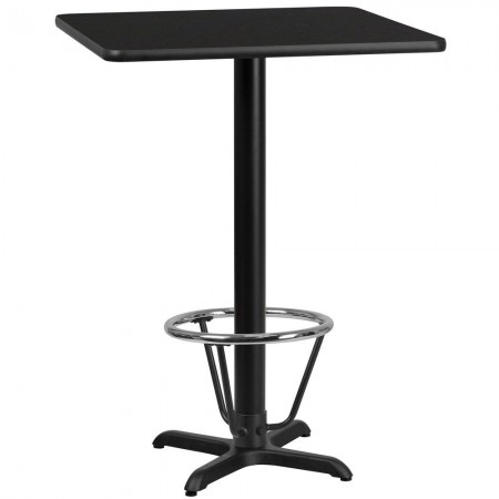 """Flash Furniture XU-BLKTB-3030-T2222B-3CFR-GG 30"""" Square Black Laminate Table Top with 22"""" x 22"""" Bar Height Table Base and Foot Ring"""