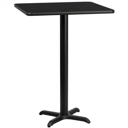"Flash Furniture XU-BLKTB-3030-T2222B-GG 30"" Square Black Laminate Table Top with 22"" x 22"" Bar Height Table Base"