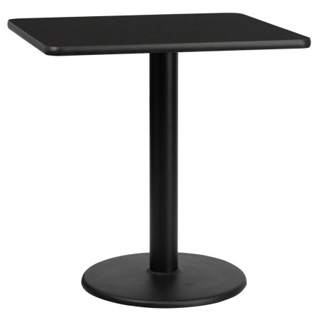 """Flash Furniture XU-BLKTB-3030-TR18-GG 30"""" Square Black Laminate Table Top with 18"""" Round Table Height Base"""