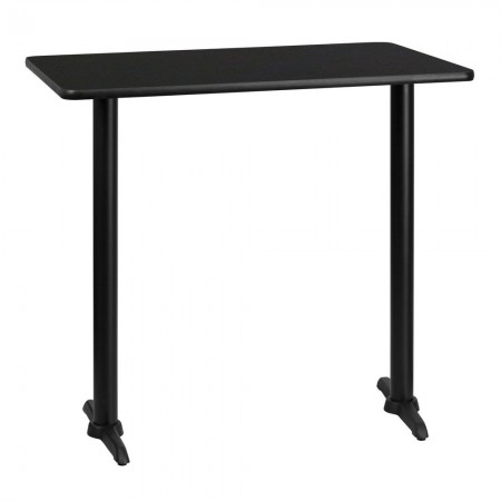 "Flash Furniture XU-BLKTB-3042-T0522B-GG 30"" x 42"" Rectangular Black Laminate Table Top with 5"" x 22"" Bar Height Table Bases"