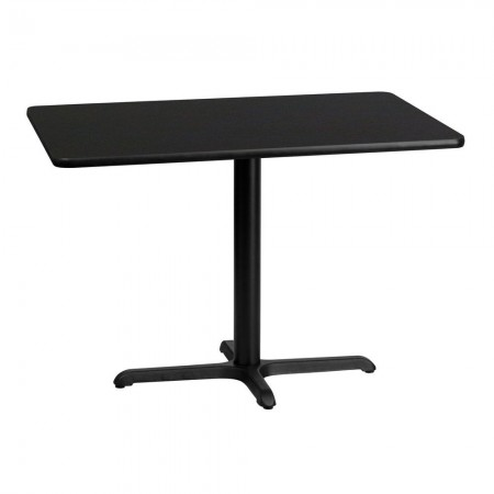 "Flash Furniture XU-BLKTB-3042-T2230-GG 30"" x 42"" Rectangular Black Laminate Table Top with 22"" x 30"" Table Height Base"