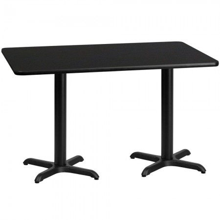 """Flash Furniture XU-BLKTB-3060-T2222-GG 30"""" x 60"""" Rectangular Black Laminate Table Top with 22"""" x 22"""" Table Height Bases"""