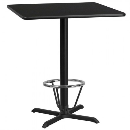 "Flash Furniture XU-BLKTB-3636-T3030B-3CFR-GG 36"" Square Black Laminate Table Top with 30"" x 30"" Bar Height Table Base and Foot Ring"