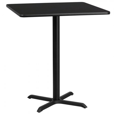"Flash Furniture XU-BLKTB-3636-T3030B-GG 36"" Square Black Laminate Table Top with 30"" x 30"" Bar Height Table Base"