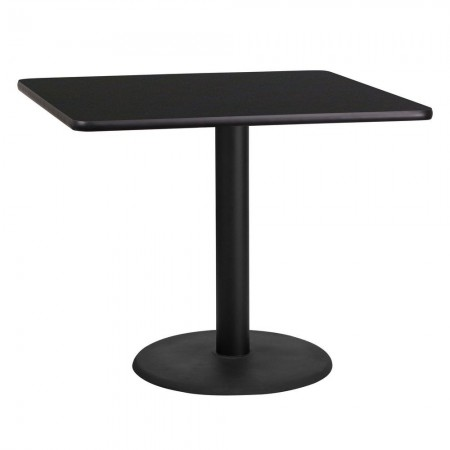 "Flash Furniture XU-BLKTB-3636-TR24-GG 36"" Square Black Laminate Table Top with 24"" Round Table Height Base"