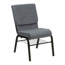 "Flash Furniture XU-CH-60096-BEIJING-GY-BAS-GG HERCULES Series 18-1/2"" Wide Gray Church Chair with  Book Rack - Gold Vein Frame"