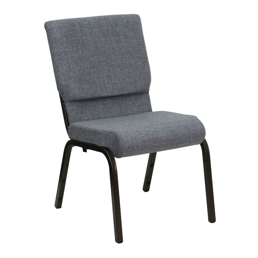 """Flash Furniture XU-CH-60096-BEIJING-GY-GG HERCULES Series 18-1/2"""" Wide Gray Stacking Church Chair with 4-1/4"""" Thick Seat - Gold Vein Frame"""