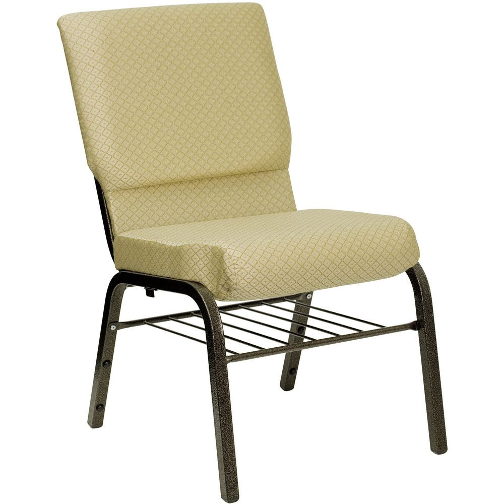 "Flash Furniture XU-CH-60096-BGE-BAS-GG HERCULES Series 18-1/2"" Wide Beige Patterned Church Chair with 4-1/4"" Thick Seat Book Rack - Gold Vein Frame"