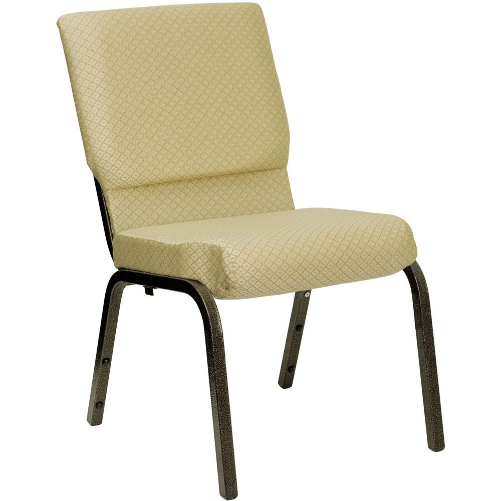 Flash Furniture XU-CH-60096-BGE-GG HERCULES Series 18.5'' Wide Beige Patterned Stacking Church Chair with 4.25'' Thick Seat - Gold Vein Frame