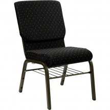 Flash Furniture XU-CH-60096-BK-BAS-GG HERCULES Series 18.5'' Wide Black Dot Patterned Church Chair with 4.25'' Thick Seat Book Rack - Gold Vein Frame