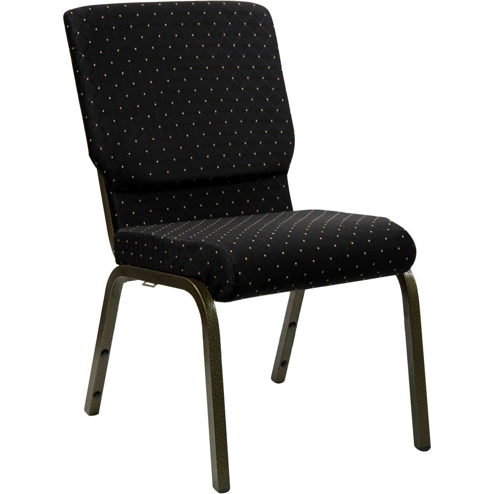 Flash Furniture XU-CH-60096-BK-GG HERCULES Series 18.5'' Wide Black Dot Patterned Stacking Church Chair with 4.25'' Thick Seat - Gold Vein Frame