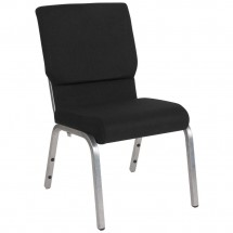 "Flash Furniture XU-CH-60096-BK-SV-GG HERCULES Series 18-1/2"" Wide Black Stacking Church Chair  - Silver Vein Frame"
