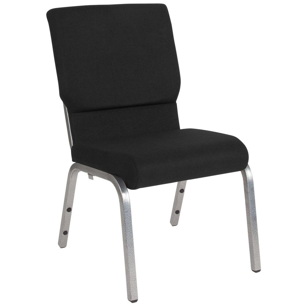 Flash Furniture XU-CH-60096-BK-SV-GG HERCULES Series 18.5'' Wide Black Stacking Church Chair with 4.25'' Thick Seat - Silver Vein Frame