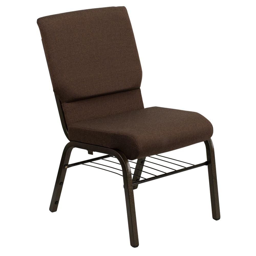 "Flash Furniture XU-CH-60096-BN-BAS-GG HERCULES Series 18-1/2"" Wide Brown Church Chair with 4-1/4"" Thick Seat Book Rack - Gold Vein Frame"