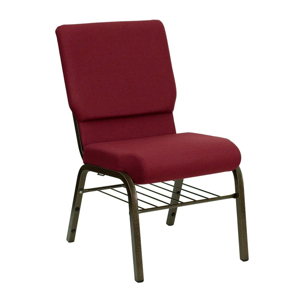 "Flash Furniture XU-CH-60096-BY-BAS-GG HERCULES Series 18-1/2"" Wide Burgundy Church Chair with 4-1/4"" Thick Seat Book Rack - Gold Vein Frame"