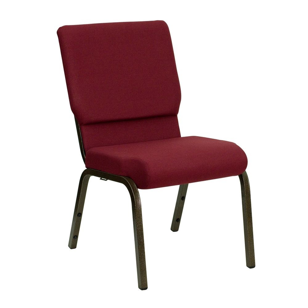 "Flash Furniture XU-CH-60096-BY-GG HERCULES Series 18-1/2"" Wide Burgundy Stacking Church Chair with 4-1/4"" Thick Seat - Gold Vein Frame"