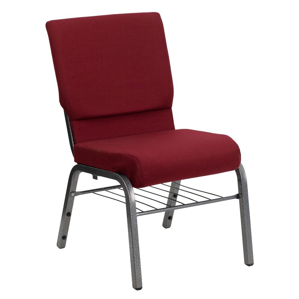 Flash Furniture XU-CH-60096-BY-SILV-BAS-GG HERCULES Series 18.5'' Wide Burgundy Church Chair with 4.25'' Thick Seat Book Rack - Silver Vein Frame