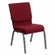 Flash Furniture XU-CH-60096-BY-SILV-GG HERCULES Series 18.5'' Wide Burgundy Stacking Church Chair with 4.25'' Thick Seat - Silver Vein Frame