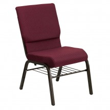 "Flash Furniture XU-CH-60096-BYXY56-BAS-GG HERCULES 18-1/2"" Wide Burgundy Patterned Church Chair with 4-1/4"" Thick Seat Book Rack - Gold Vein Frame"