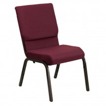 "Flash Furniture XU-CH-60096-BYXY56-GG HERCULES Series 18-1/2"" Wide Burgundy Patterned Stacking Church Chair with 4-1/4"" Thick Seat - Gold Vein Frame"