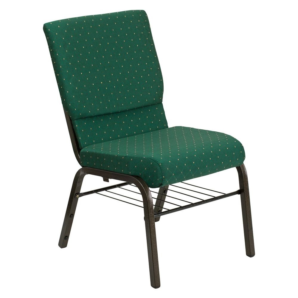 "Flash Furniture XU-CH-60096-GN-BAS-GG HERCULES Series 18-1/2"" Wide Green Patterned Church Chair with 4-1/4"" Thick Seat Book Rack - Gold Vein Frame"