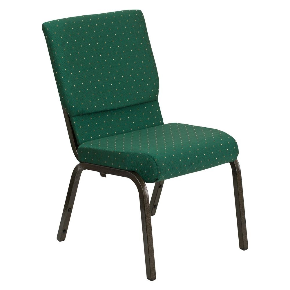 "Flash Furniture XU-CH-60096-GN-GG HERCULES Series 18-1/2"" Wide Green Patterned Stacking Church Chair with 4-1/4"" Thick Seat - Gold Vein Frame"