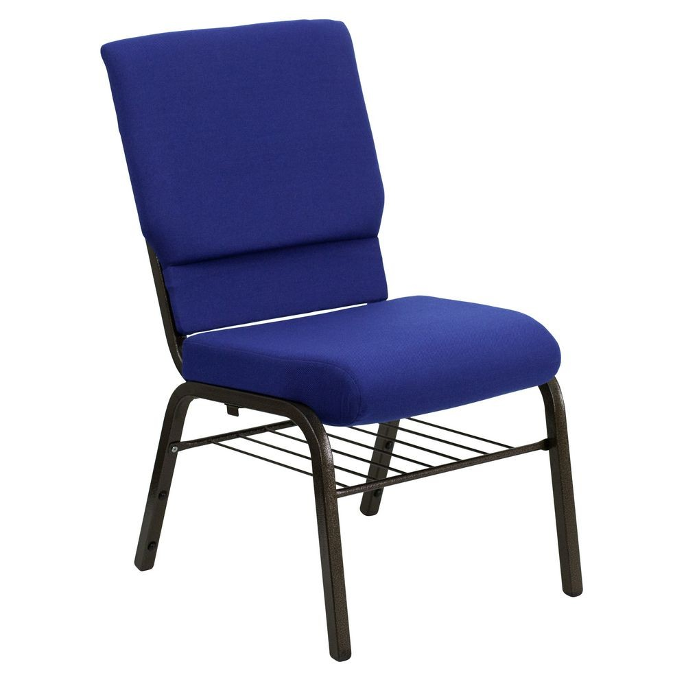Flash Furniture XU-CH-60096-NVY-BAS-GG HERCULES Series 18.5'' Wide Navy Blue Church Chair with 4.25'' Thick Seat Book Rack - Gold Vein Frame