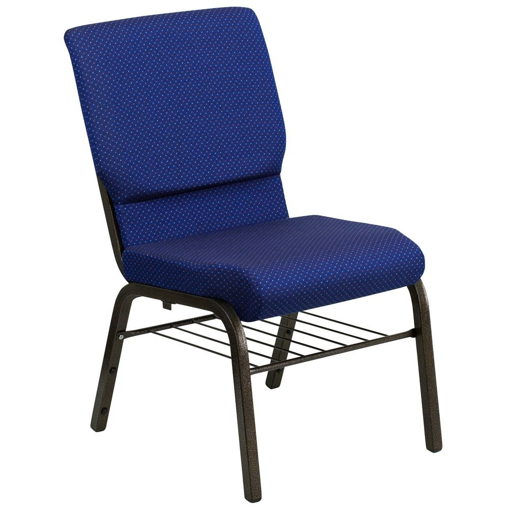 "Flash Furniture XU-CH-60096-NVY-DOT-BAS-GG HERCULES 18-1/2"" Wide Navy Blue Dot Patterned Church Chair with 4.-1/4"" Thick Seat Book Rack - Gold Vein Frame"