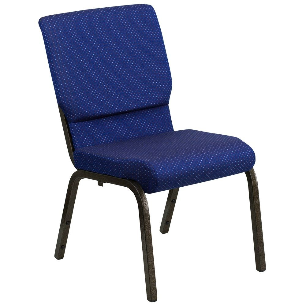 Flash Furniture XU-CH-60096-NVY-DOT-GG HERCULES 18.5'' Wide Navy Blue Dot Patterned Stacking Church Chair with 4.25'' Thick Seat - Gold Vein Frame