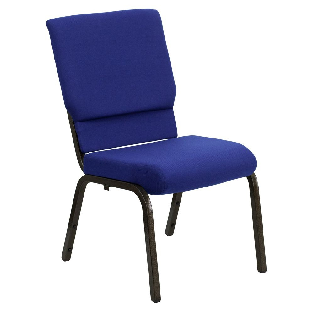 Flash Furniture XU-CH-60096-NVY-GG HERCULES Series 18.5'' Wide Navy Blue Stacking Church Chair with 4.25'' Thick Seat - Gold Vein Frame