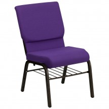 "Flash Furniture XU-CH-60096-PU-BAS-GG HERCULES Series 18-1/2"" Wide Purple Church Chair with 4-1/4"" Thick Seat Book Rack - Gold Vein Frame"