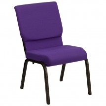 "Flash Furniture XU-CH-60096-PU-GG HERCULES Series 18-1/2"" Wide Purple Stacking Church Chair with 4-1/2"" Thick Seat - Gold Vein Frame"