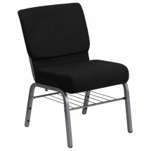 Flash Furniture XU-CH0221-BK-SV-BAS-GG HERCULES Series  21'' Extra Wide Black Church Chair with 3.75'' Thick Seat, Book Rack - Silver Vein Frame