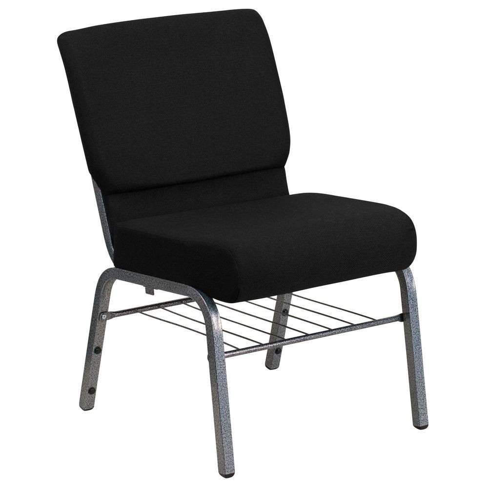 "Flash Furniture XU-CH0221-BK-SV-BAS-GG HERCULES Series 21"" Extra Wide Black Church Chair with 3-3/4"" Thick Seat, Book Rack - Silver Vein Frame"