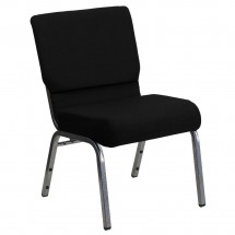"Flash Furniture XU-CH0221-BK-SV-GG HERCULES Series 21"" Extra Wide Black Stacking Church Chair with 3-3/4"" Thick Seat - Silver Vein Frame"