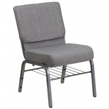 "Flash Furniture XU-CH0221-GY-SV-BAS-GG HERCULES Series 21"" Extra Wide Gray Church Chair with 3-3/4"" Thick Seat, Book Rack - Silver Vein Frame"