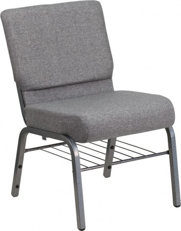 """Flash Furniture XU-CH0221-GY-SV-BAS-GG HERCULES Series 21"""" Extra Wide Gray Church Chair with Book Rack - Silver Vein Frame"""