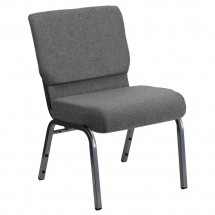 "Flash Furniture XU-CH0221-GY-SV-GG HERCULES Series 21"" Extra Wide Gray Stacking Church Chair with 3-3/4"" Thick Seat - Silver Vein Frame"