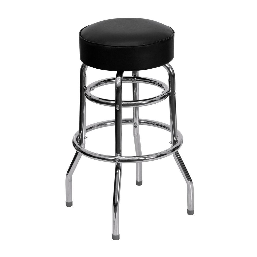 Flash Furniture XU-D-100-GG Chrome Double Ring Bar Stool