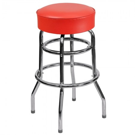 Flash Furniture XU-D-100-RED-GG Double Ring Chrome Barstool with Red Seat