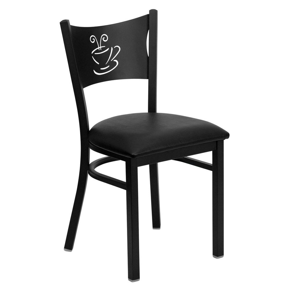 Flash Furniture XU-DG-60099-COF-BLKV-GG HERCULES Series Black Coffee Back Metal Restaurant Chair - Black Vinyl Seat