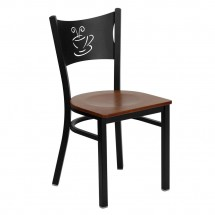 Flash Furniture XU-DG-60099-COF-CHYW-GG HERCULES Series Black Coffee Back Metal Restaurant Chair - Cherry Wood Seat