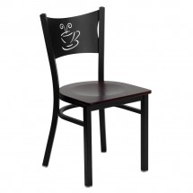 Flash Furniture XU-DG-60099-COF-MAHW-GG HERCULES Series Black Coffee Back Metal Restaurant Chair - Mahogany Wood Seat