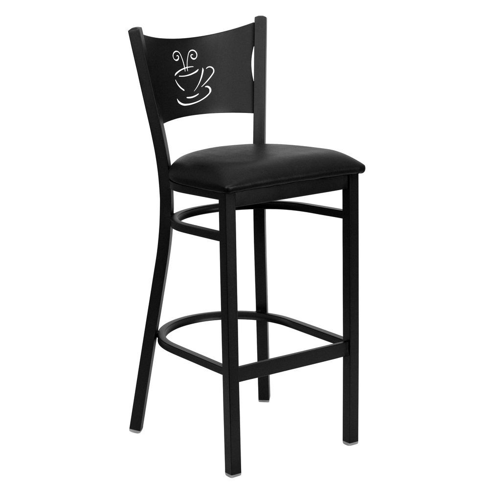 Flash Furniture XU-DG-60114-COF-BAR-BLKV-GG HERCULES Series Black Coffee Back Metal Restaurant Bar Stool - Black Vinyl Seat
