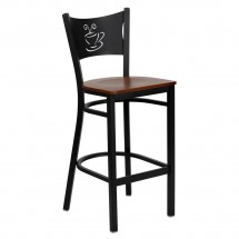 Flash Furniture XU-DG-60114-COF-BAR-CHYW-GG HERCULES Series Black Coffee Back Metal Restaurant Bar Stool - Cherry Wood Seat