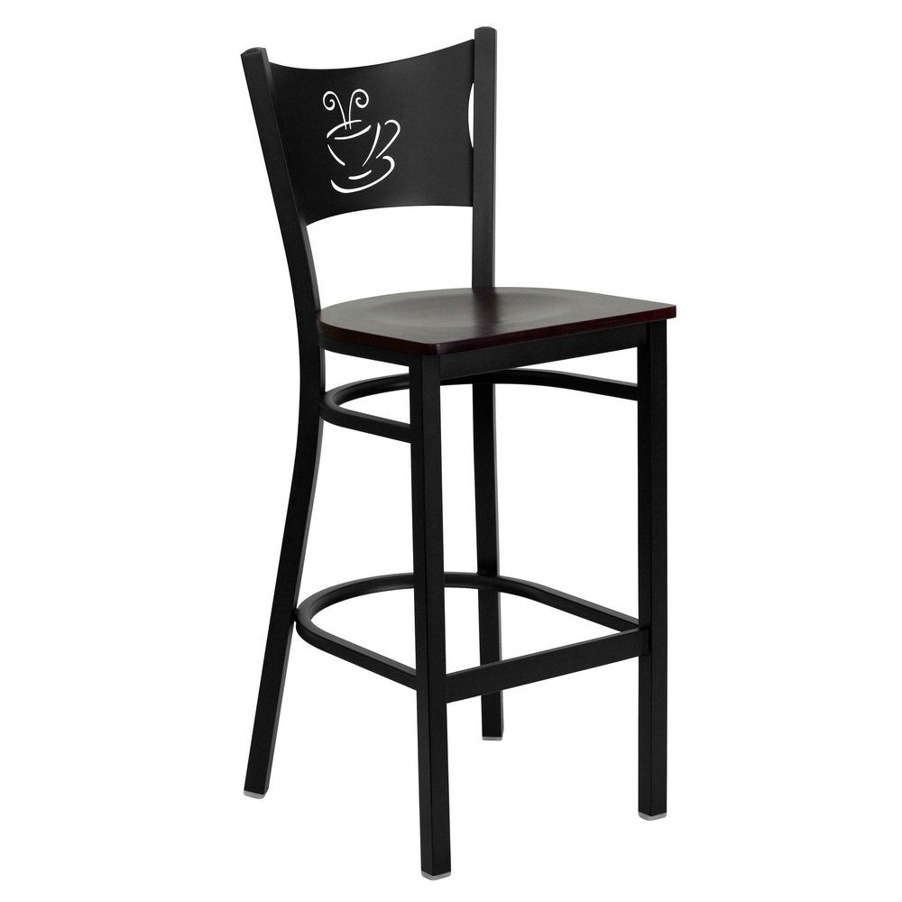 Flash Furniture XU-DG-60114-COF-BAR-MAHW-GG HERCULES Series Black Coffee Back Metal Restaurant Bar Stool - Mahogany Wood Seat