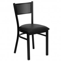 Flash Furniture XU-DG-60115-GRD-BLKV-GG HERCULES Series Black Grid Back Metal Restaurant Chair - Black Vinyl Seat