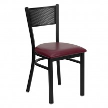 Flash Furniture XU-DG-60115-GRD-BURV-GG HERCULES Series Black Grid Back Metal Restaurant Chair - Burgundy Vinyl Seat