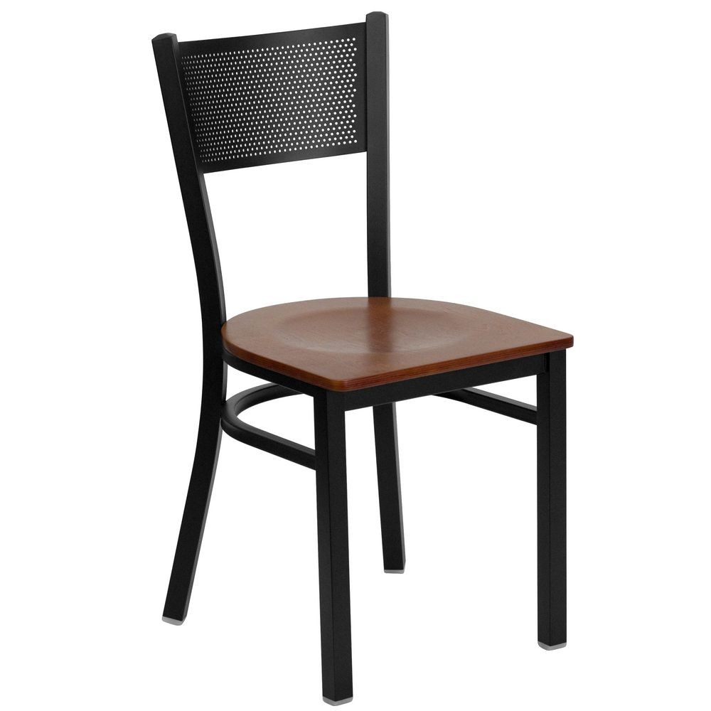 Flash Furniture XU-DG-60115-GRD-CHYW-GG HERCULES Series Black Grid Back Metal Restaurant Chair - Cherry Wood Seat